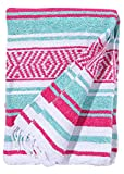 El Paso Designs Mexican Yoga Blanket Colorful 51in x 74in Studio Mexican Falsa Blanket Ideal for Yoga, Camping, Picnic, Beach Blanket, Bedding, Home Decor Soft Woven (Caribean)