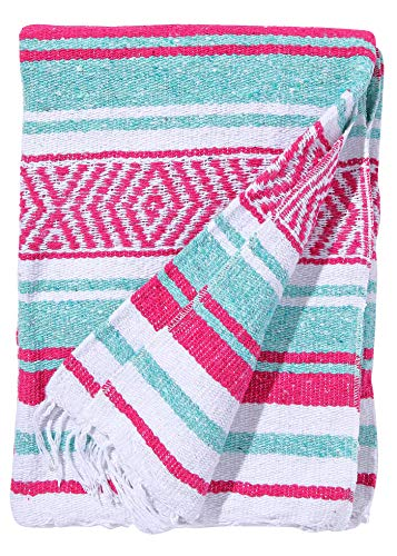 El Paso Designs Mexican Yoga Blanket Colorful 51in x 74in Studio Mexican Falsa Blanket Ideal for Yoga, Camping, Picnic, Beach Blanket, Bedding, Home Decor Soft Woven (Caribean) by El Paso Designs (Image #4)