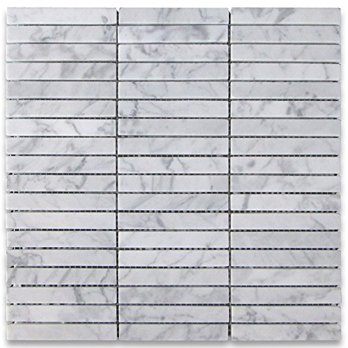Carrara White Italian Carrera Marble Rectangular Stacked Mosaic Tile 5/8 x 4 Honed - 0.625 X 0.625 Mosaic