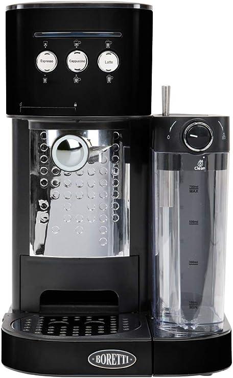 Boretti B400 Independiente Máquina espresso 1.2L Negro - Cafetera (Independiente, Máquina espresso, 1,2 L, De café molido, 1470 W, Negro): Amazon.es: Hogar