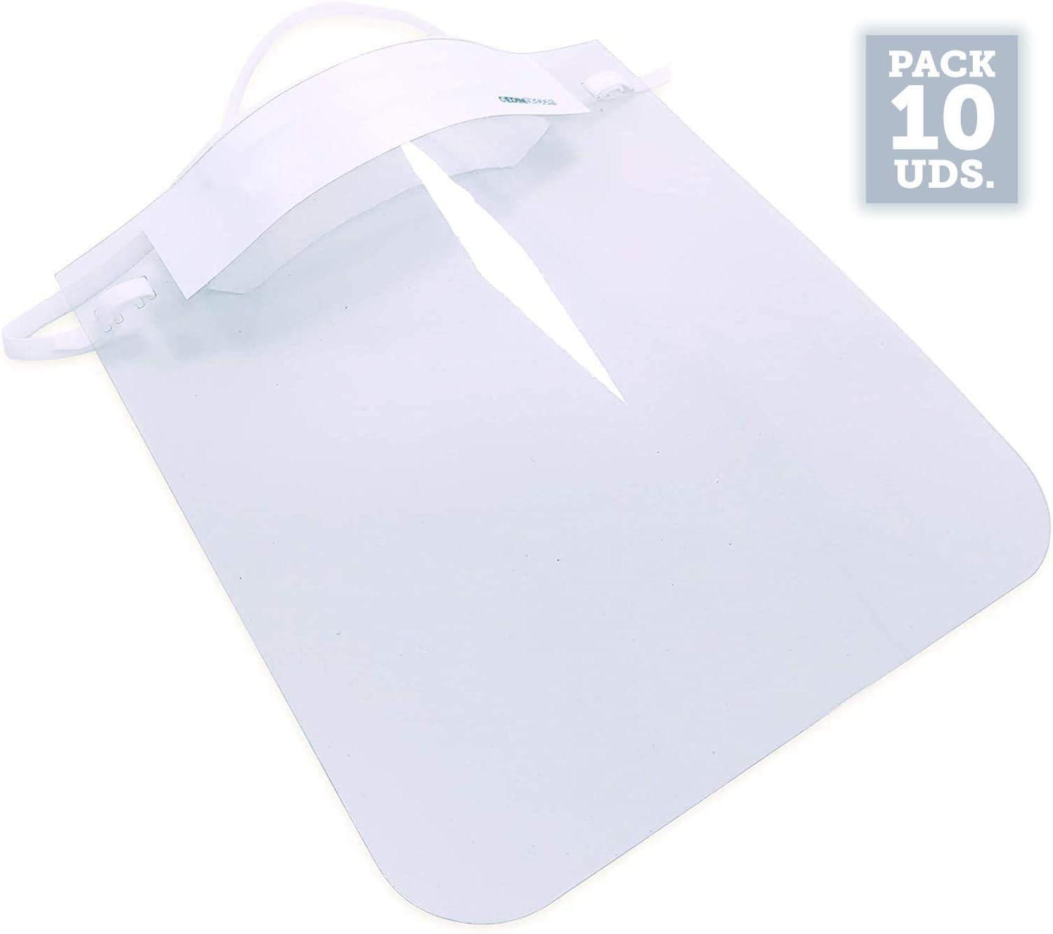 Pack de 10 Uds.| Producto actualizado y Mejorado a 20/04/2020|Pantalla de protección Facial Transparente|Visera protección máscara Facial | Medida 23 x 26 cm | Protección antisalpicaduras