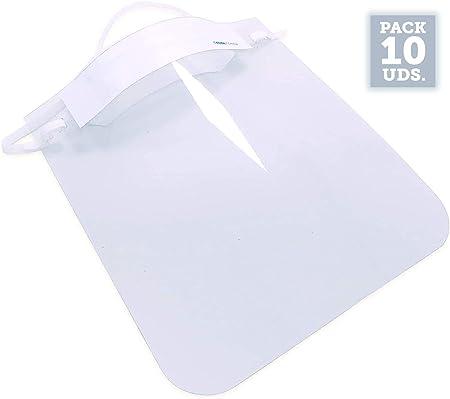 Pack de 10 Uds. | Producto actualizado y Mejorado a 20/04/2020 | Pantalla de protección Facial Transparente | Visera protección máscara Facial | Medida 23 x 26 cm | Protección antisalpicaduras: Amazon.es: Hogar