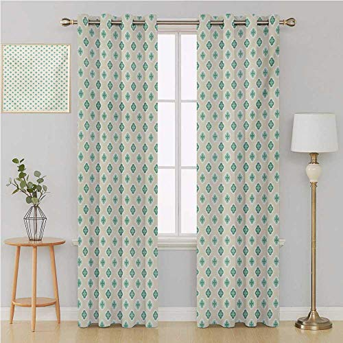 Benmo House Turquoise grummet Curtain Drapes for Living RoomRetro Cross Pattern Abstract Geometric Plus Figure Oval Frame Design Vintagecurtains for Bedroom 120 by 108 InchIvory Seafoam