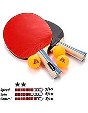 Pala Tenis de Mesa Table Tennis Set 2 Raquetas 3 Pelotas de Ping-Pong para Principiantes y avanzados - Raqueta Tenis de Mesa para niños y Adultos Ping Pong para Entrenamiento y Partidos