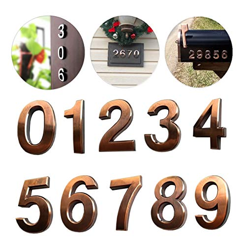 (10 Pack Self Stick House Numbers 0 to 9 Address Sign Solid Stickers for Mailbox Apartment Hotel Door 2.75 inch High Bronze & Silver (10 Pack 0-9 2.75