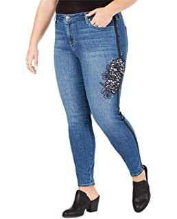 Womens Plus Ebony Rose Denim Embroidered Slim Leg Jeans Blue 22W Style /& Co