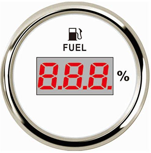 Samdo 52mm Universal Digital Fuel Level Gauge Meter for Boat Car Motorcycle 0-190ohm Signal 12V/24V ()