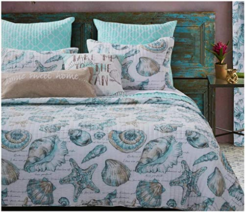 Seaside Beach Seashell Coastal Print Bedding Luxury Soft Brushed Microfiber Reversible Bedspread Quilt and Shams Set, Aqua Blue Green, 3 Piece Double Full Queen Size - Includes Bed Sheet Straps (Sham Queen Double)