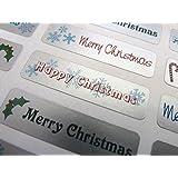 Adesivi di auguri natalizi con scritte in inglese per biglietti di auguri, buste e decorazioni