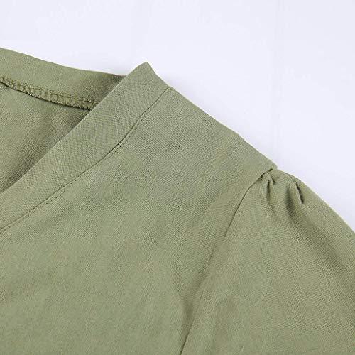 Dress Taille Grande Amlaiworld Longue T Femmes Casual Swing shirt Couleur Et Été Boho Unie Ethnique Lin Robe Simple Plage Col V Vert Coton Loose R71Rqr