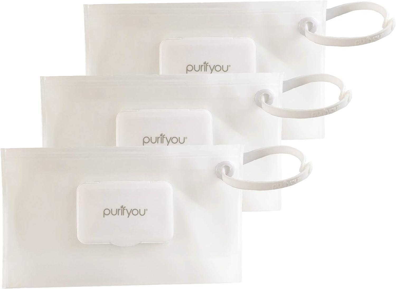 Purifyou PurePouch /Étui de voyage pour lingettes humides lot de 3 claire