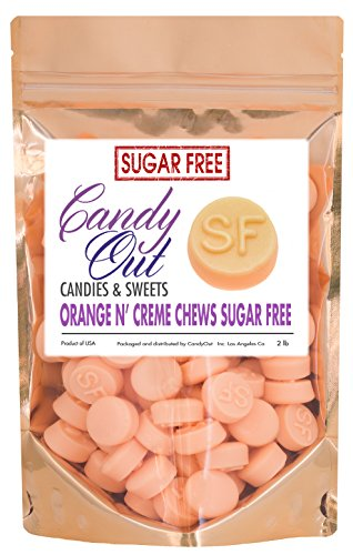 Cream Chews - CandyOut Gimbal's Sugar Free Orange 'N Creme Chews 2 Pound in CandyOut Resealable Bag