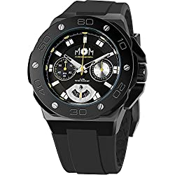 Men's Italian Designed M.O.M.Winner Chrono Black Stainless Steel, Black Dial with Yellow Accents and Black Silicone Rubber Strap Quartz Chronograph Watch PM7110-922