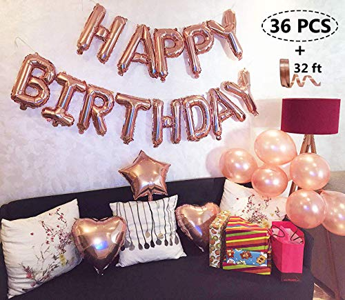 Rose Gold Happy Birthday Balloons Party Decoration Set 36 pcs + Balloon Pump Included, 13 Letter Balloons Banner 1 Star and 2 Heart Foil Balloon, 20pcs Latex Balloons, Best Party Supplies
