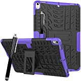 iPad Pro 10.5 Case, AICase Shock Impact Resistant Heavy Duty Dual Laye TPU Inner Sleeve & Hard Plastic Back Cover with Kickstand/Apple Pencil Holder for iPad Pro 10.5 inch (2017 Release) (Purple)
