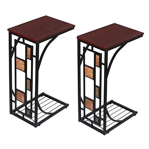 Yaheetech Snack Table Sofa Side Table Coffee Tray End Table for Living Room, Set of -