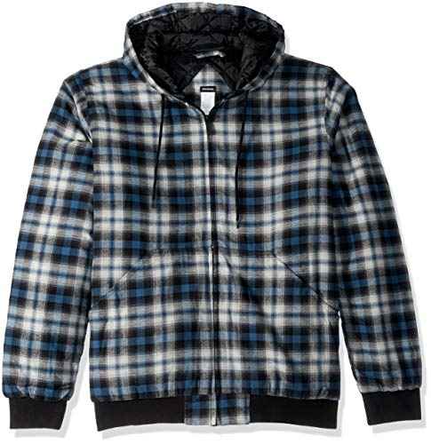 Dickies Men's Modern Fit Quilted Bomber Shirt Jacket Big, Executive Light Gray Insignia Blue Plaid, 3X