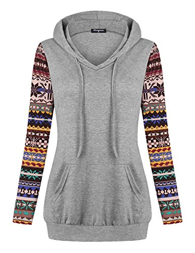 Miagooo Blouses for Women Fashion 2017, Women's Crew Neck Long Sleeve Pullover Sport Hoodies Top with Kangaroo Pocket(Multicolor Gray,XX-Large)