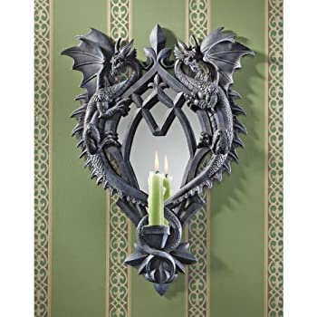 Design Toscano Double Trouble Gothic Dragon Mirrored Wall Sculpture