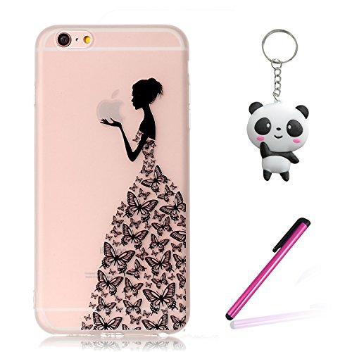 iPhone 8 Coque,3D Fille papillon Premium Gel TPU Souple Silicone Transparent Clair Bumper Protection Housse Arrière Étui Pour Apple iPhone 8 + Deux cadeau