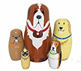 5pcs Cute and Funny Wooden Dog Stacking
