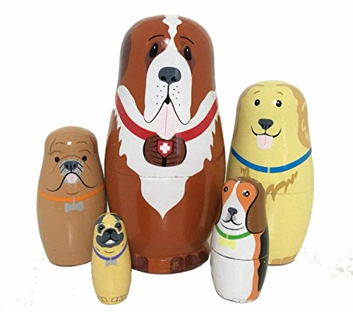 5pcs Cute and Funny Wooden Dog Stacking toys/Russian nesting dolls/Matryoshka gifts for kids(Multicolor) -
