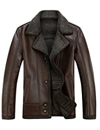 K3K New Mens PU Leather Casual Faux Fur Lined Single-Breasted Jacket