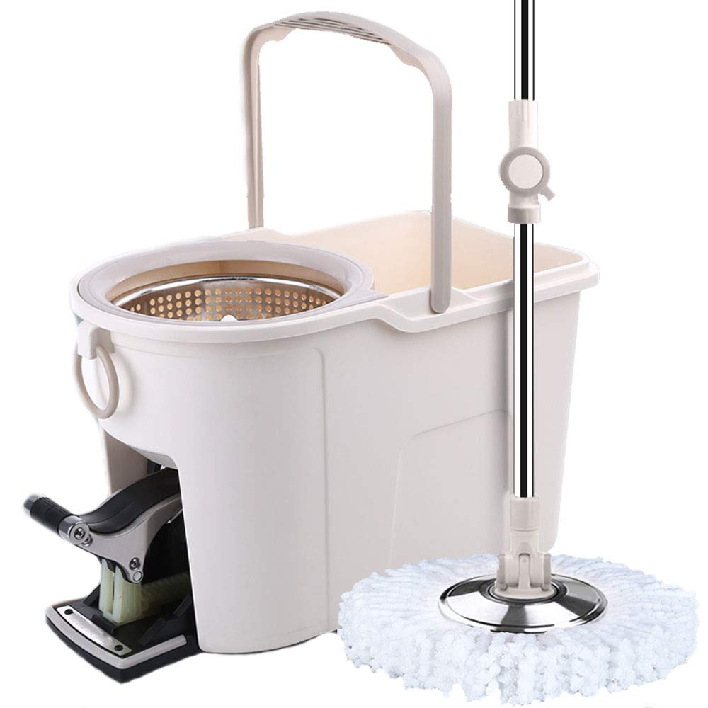 LJJL モップ翡翠の白いステンレススチール4ドライドライと濡れた自動手洗いモップなし フロアスプレーモップ (サイズ さいず : B) B07PYSPL15  B