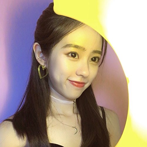 S original custom hand-made yellow ear clip earrings love summer transparency Jaese cute girl 80s retro ()