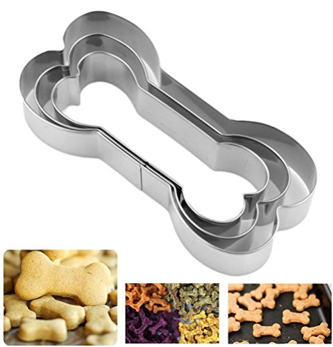 Biscuit Cookie Cutters for Homemade Treats -Stainless Steel Bone Shaped Cookie Molds- 3 Piece Set (Shaped Cookie Cutter)