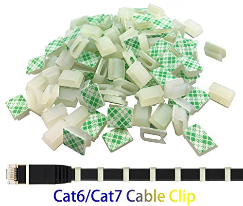 Ethernet Cable Clips,Ruaeoda 60 Pack 8mm Self-Adhesive Wire Clips, Cord Clamp Cable Management for Cat6 Cat5 and Cat7 Flat Ethernet Cable(White) ()