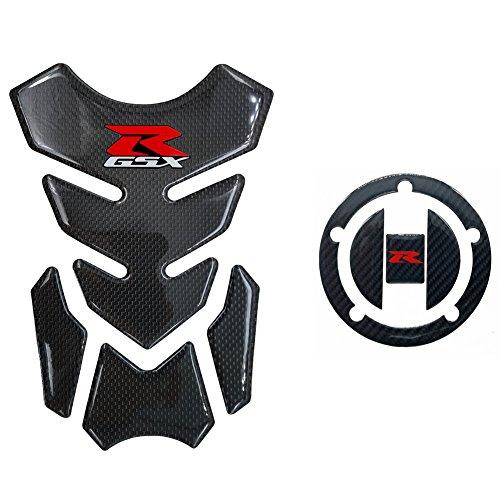 Real Carbon Fiber 3D Sticker Vinyl Decal Emblem Protection Gas Tank Pad & Cap Cover For SUZUKI Gixxer GSXR 600 750 2006-2016 / GSXR1000 2007-2008 GSXR1300 Hayabusa 2008-2016