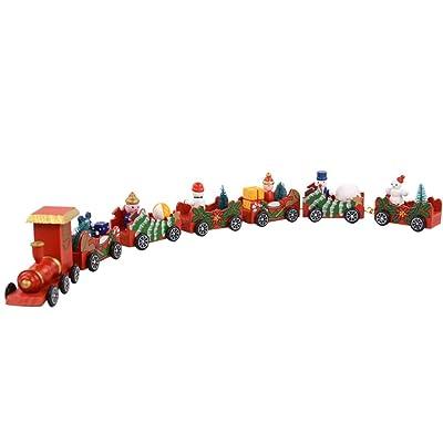 Amosfun Madera Navidad Tren de Navidad Juguetes Tren Grande Adorno decoración de Escritorio decoración Regalo 52x6 cm: Juguetes y juegos