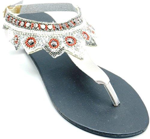 Womans Multicolore Strass Perline Gladiator Infradito Slip On Sandalo Infradito Scarpe Oro Rosa