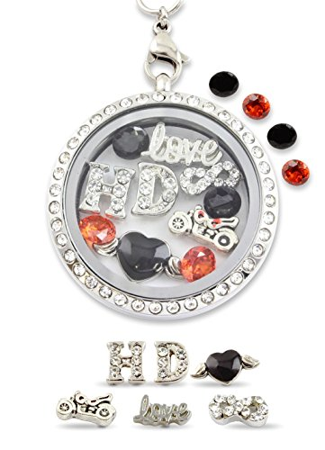 """Infinity Love Harley"" Floating Charm Living Memory Locket Magnetic Closure 30mm Stainless Steel Pendant Necklace with Orange and Black Crystal - Jewelry Harley"