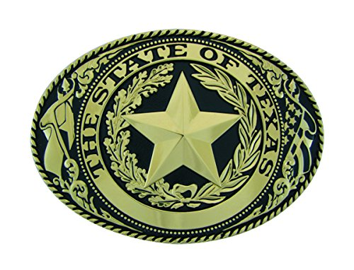 Buckle Seal (Texas State Seal Belt Buckle, El Grande - Extra Large Size, GB, Oval)