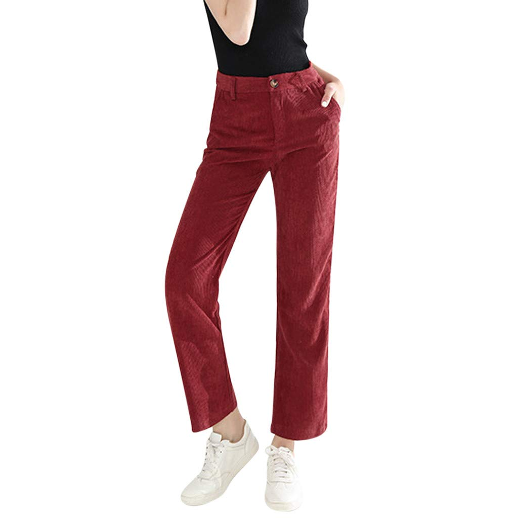 Women's Mid Rise Straight Leg Corduroy Pants Stretch Slim Fit Tapered Chino Pant Comfy Cropped Bootcut Trousers Pockets for Casual Work by Armfre Bottom