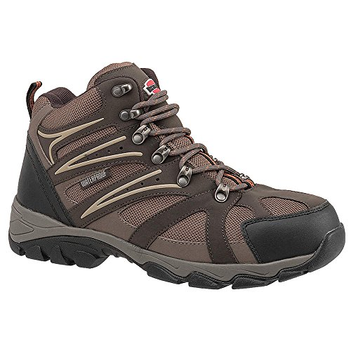 6H Mens Hiking Boots, Steel Toe Type, Leather and Nylon Mesh Upper Material, Brown/Tan, Size 10-1/ - 1 Each