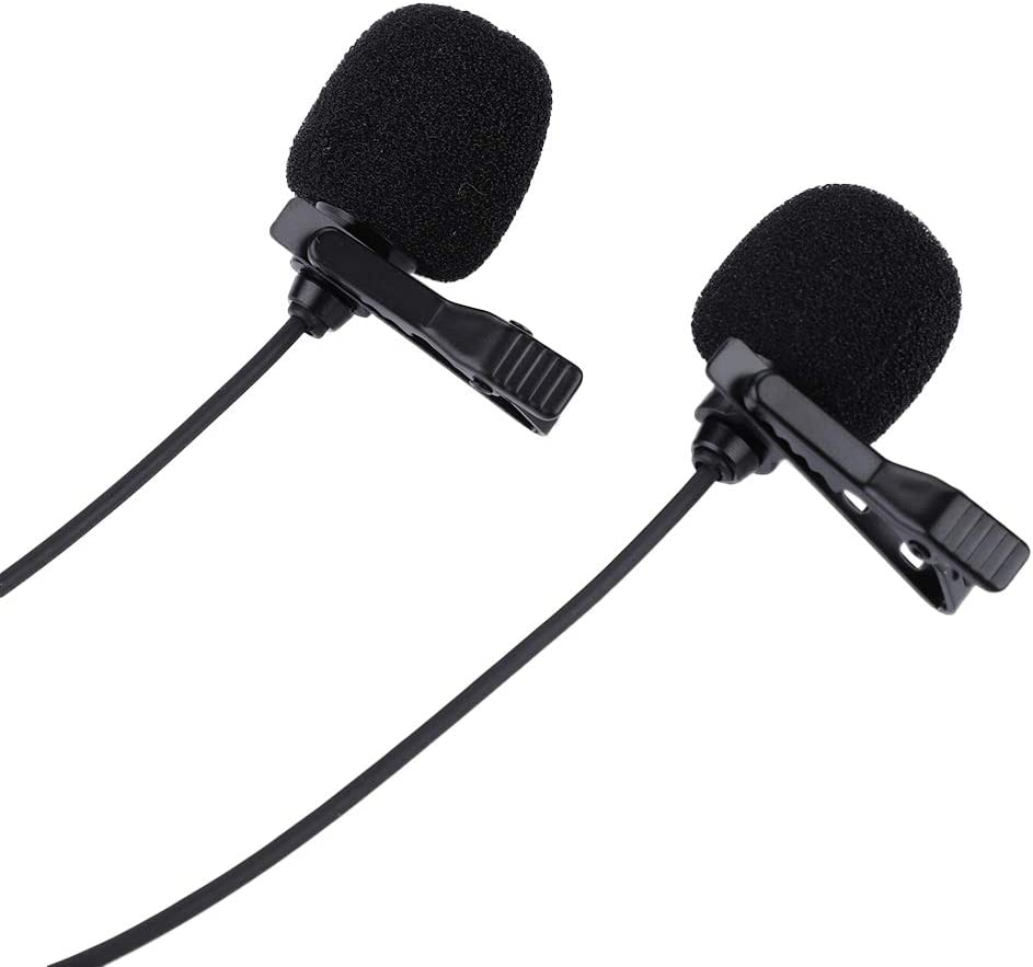 Active Sound Collection//Capacitance Technology 3.5mm Dual-Head Clip Lavalier Microphone On Lapel Durable Material