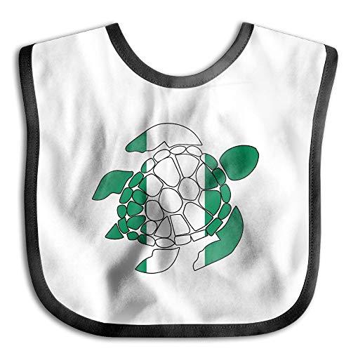 Nigerian Flag Sea Turtle Baby Cotton Baby Burp Cloths Waterproof Saliva Towel