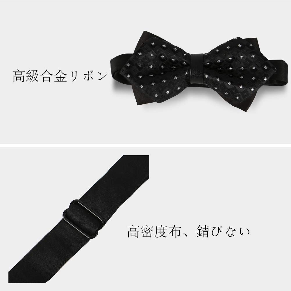 Gift Idea For Men And Boys Elegant Pre-tied Bow Ties Formal Tuxedo Bowtie Set with Adjustable Neck Band wangjiankang Mens Tied Bow Ties