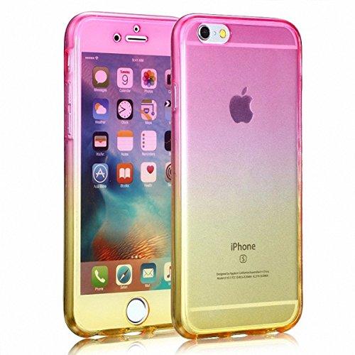 König-Shop Full TPU Case für Apple iPhone 7 Plus Schutz Hülle Handy Pink Gelb Cover 360