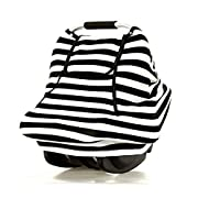Stretchy Baby Car Seat Covers For Boys Girls Infant Car Canopy Spring Autumn Winter ,Snug Warm Breathable Windproof, Adjustable Peep Window,Insect free,Universal Fit,Black White Stripe-Patented Design