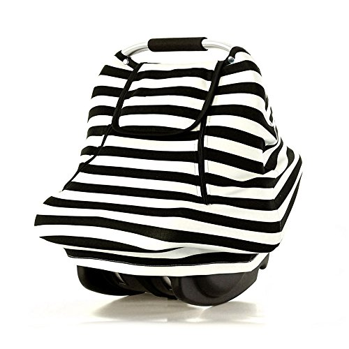 Stretchy Baby Car Seat Covers For Boys Girls Infant Car Canopy Spring Autumn Winter,Snug Warm Breathable Windproof, Adjustable Peep Window,Insect free,Universal Fit,Black White Stripe-Patented Design - Minky Toddler Car Seat Cover