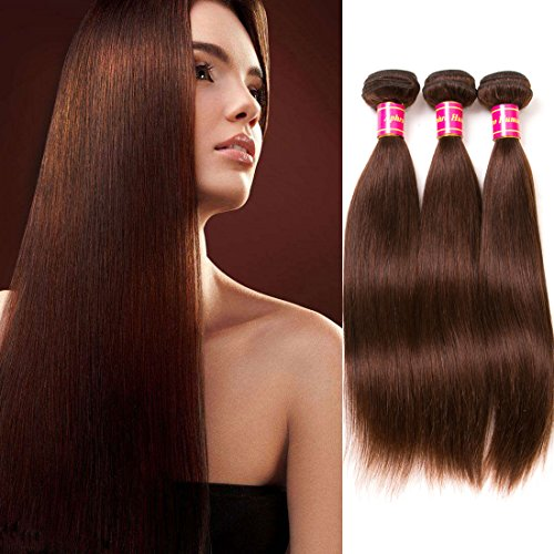 14' Three Light (Aphro Hair Peruvian Straight Human Hair Extension 7A Grade Unprocessed Peruvian Straight Virgin Hair Weave 3 Bundles 100G/Bundle 12'' 14'' 16'' 4# Light Brown ¡­)