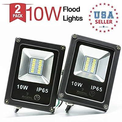 |2-Pack|10W 120V Waterproof Outdoor Garden Yard LED Flood Light Daylight White