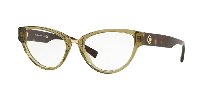258d11a3a63 Amazon.com  Versace VE3267 Eyeglass Frames 5293-53 - Transparent Green  VE3267-5293-53  Clothing