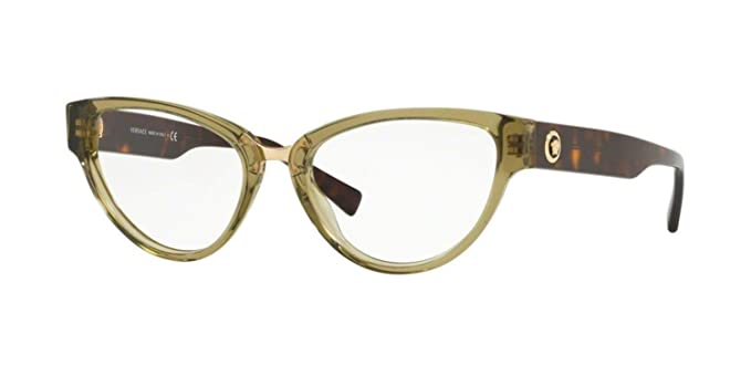 d89e462c399e Image Unavailable. Image not available for. Color: Versace VE3267 Eyeglass  Frames 5293-53 - Transparent Green ...