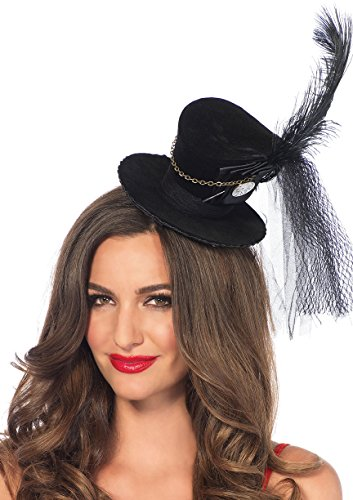 Leg Avenue Steampunk Top Hat With Chain And Feather Accent, Black, One Size - Sexy Top Hat