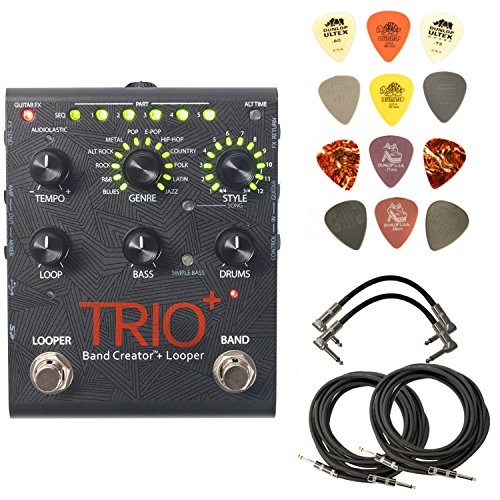 Digitech TRIOPLUS Band Creator and Looper Bundle with 2 Patch Cables, 2 Instrument Cables and Dunlop Pick Pack